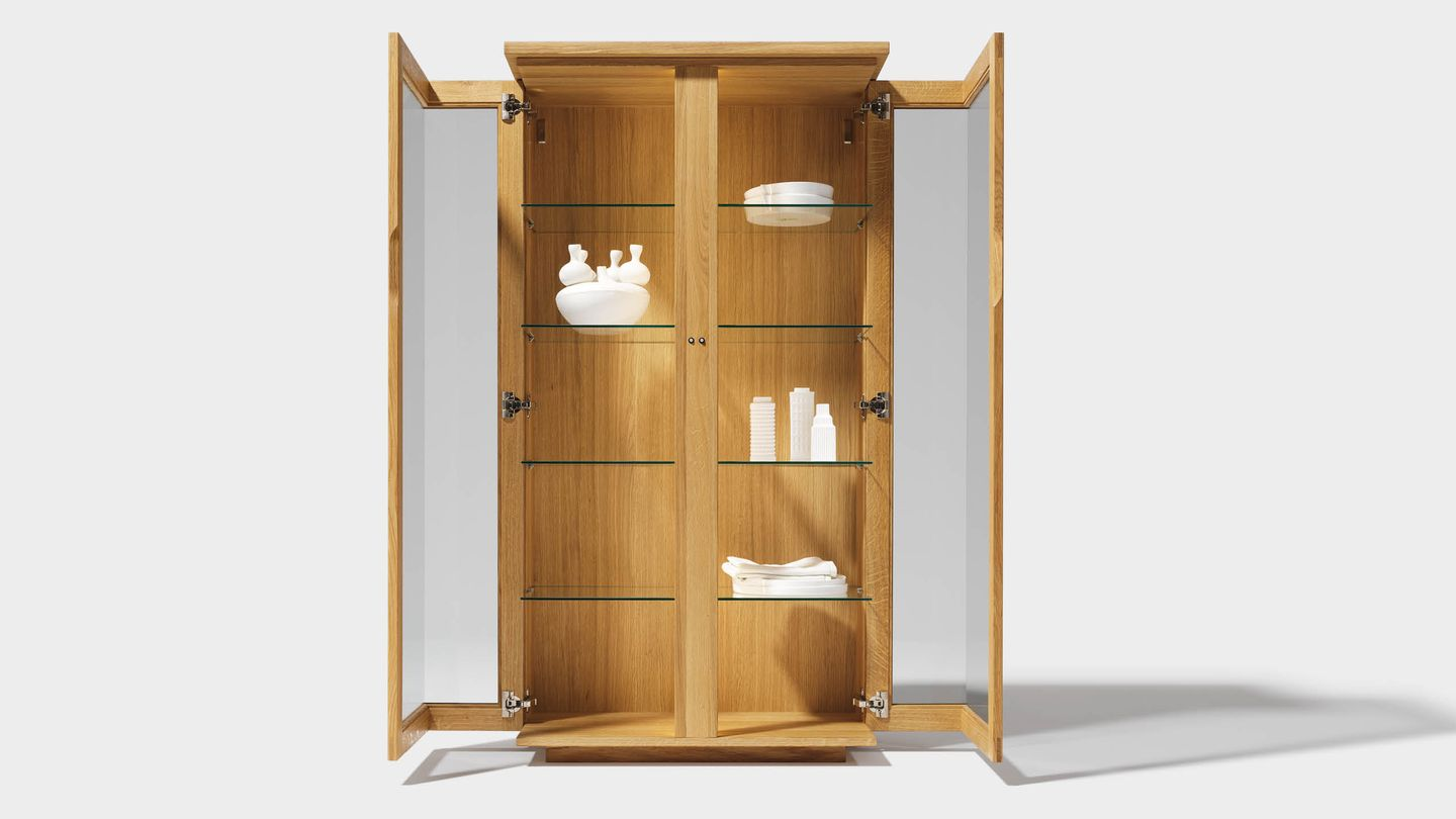 cubus display cabinet of solid wood in oak, open