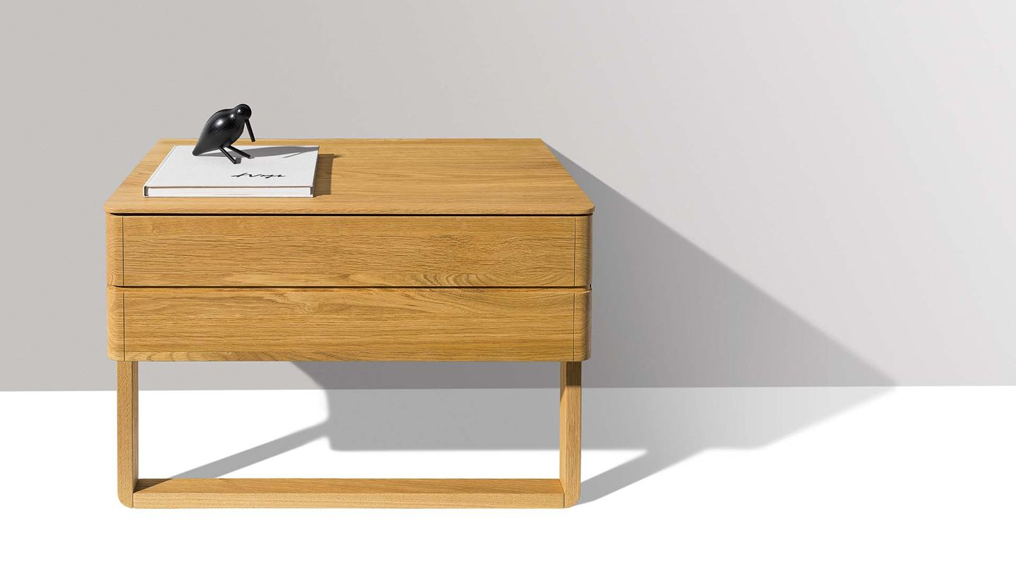 float bedside cabinet with solid wood slide by TEAM 7