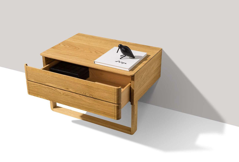 float bedside cabinet in oak with drawer