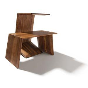 Tavolino di servizio sidekick in legno massello di noce