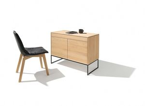 filigno writing desk in oak white oil with metal frame base in matt black by TEAM 7