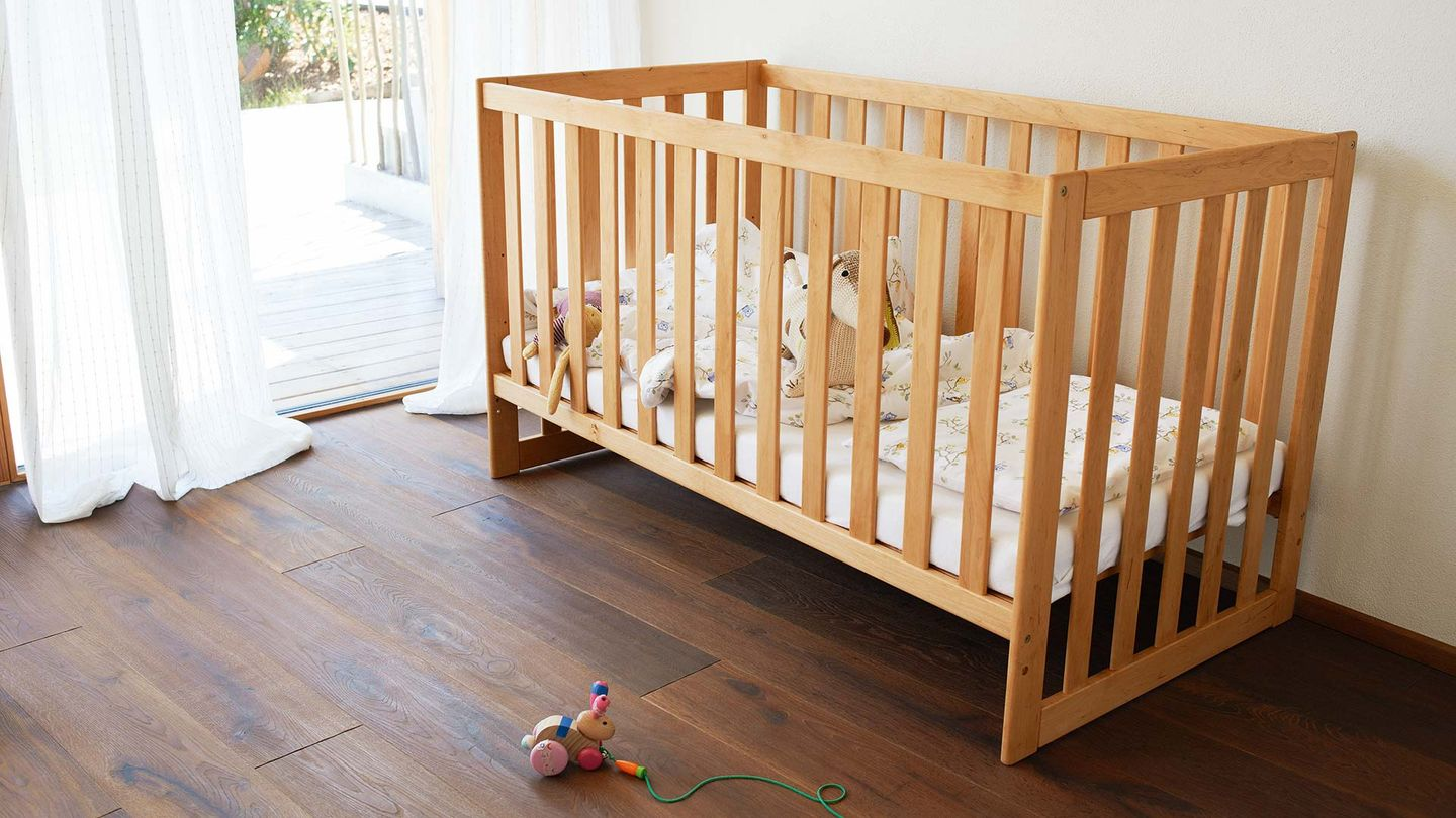 mobile child's bed made of solid wood