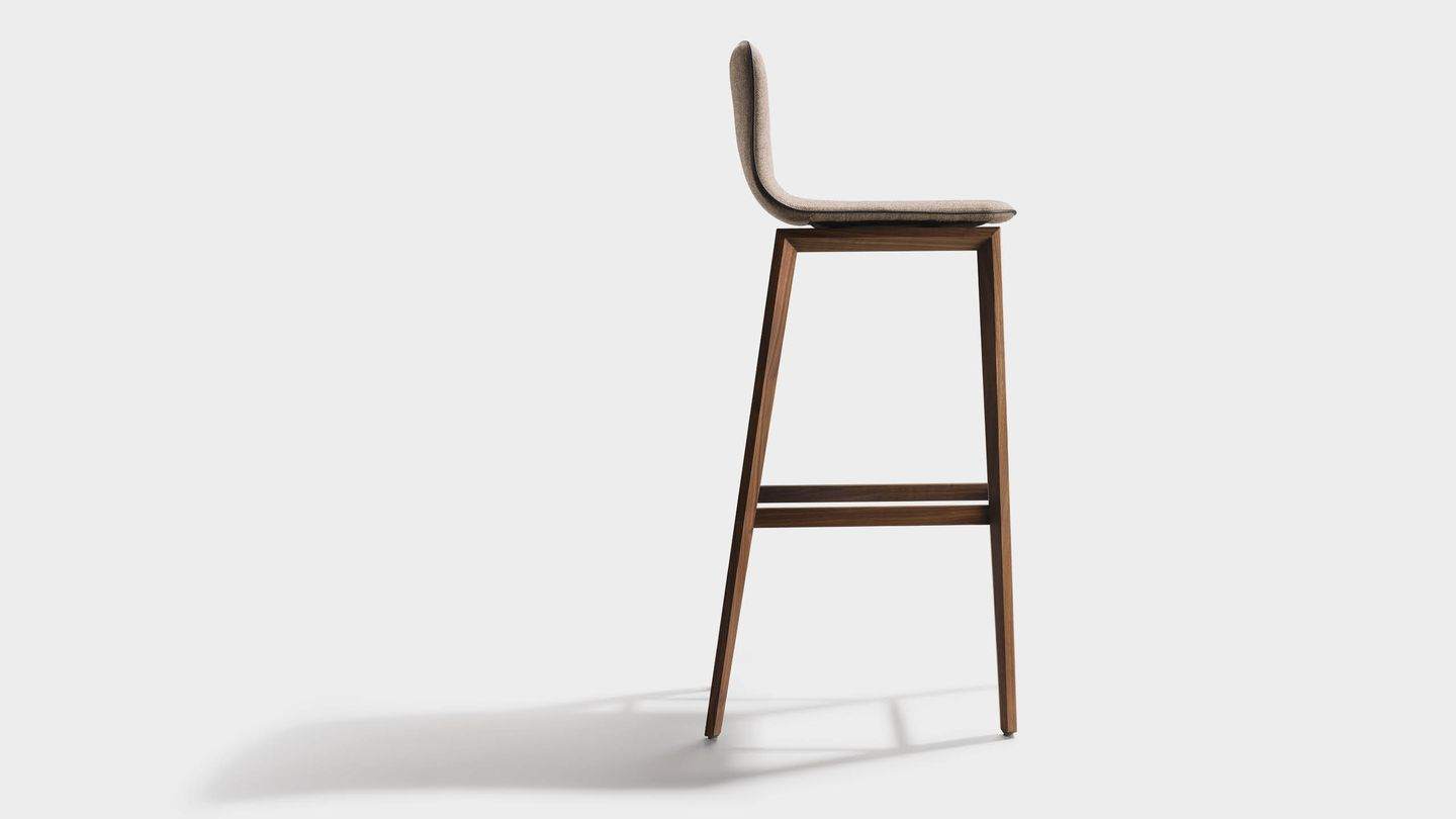 ark bar stool with backrest and wooden legs in walnut