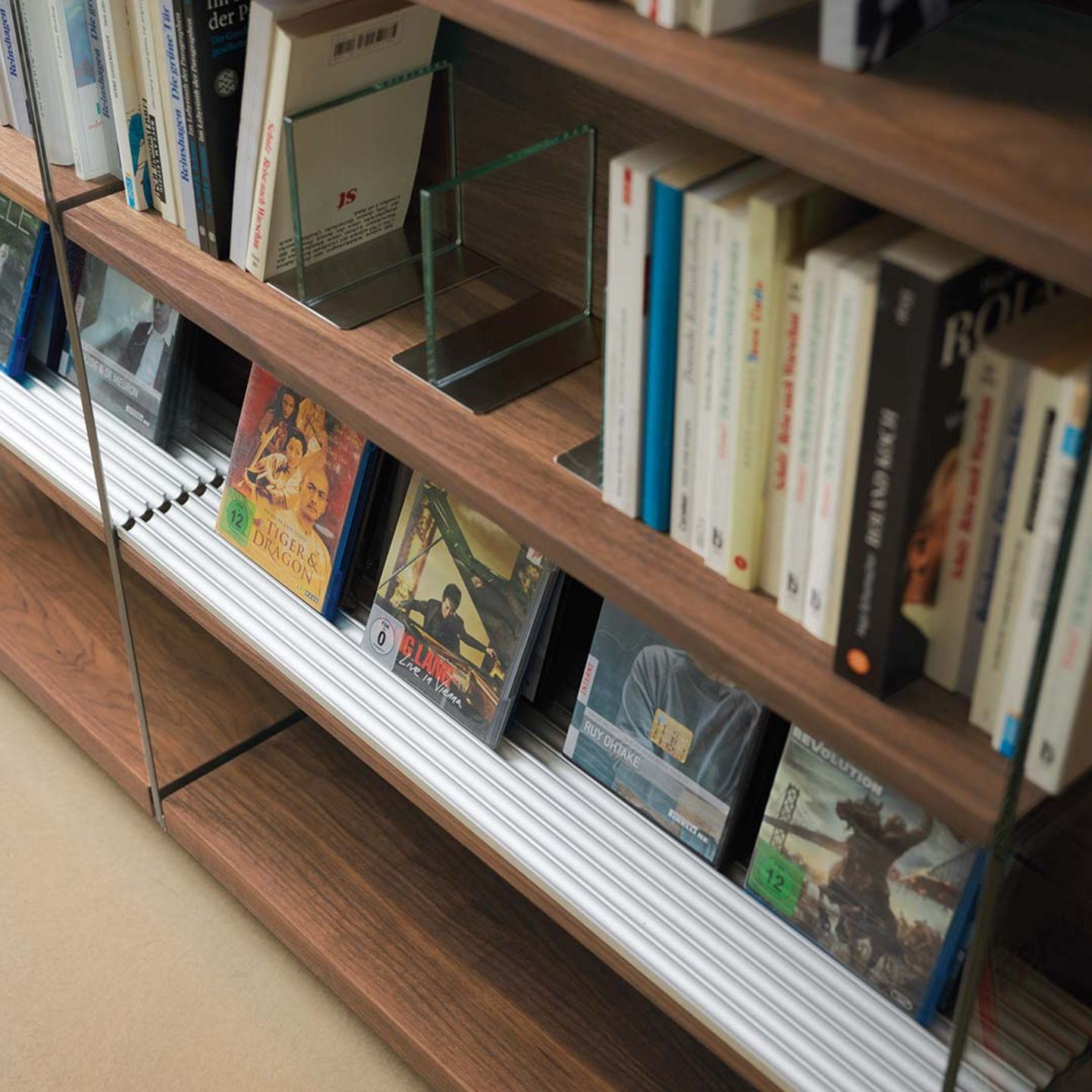 cubus shelf made of solid wood with CD partitioning