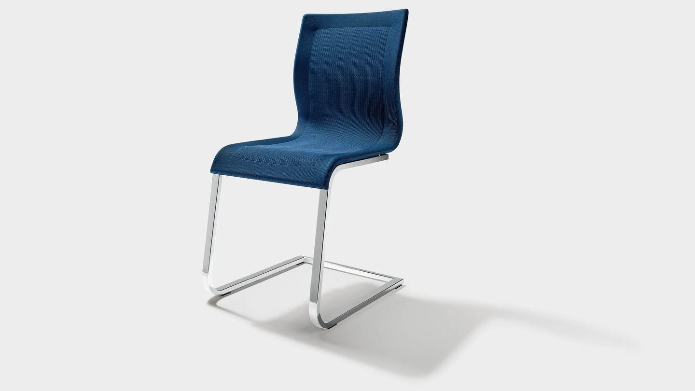 Chaise cantilever magnum en bleu avec cadre brillant
