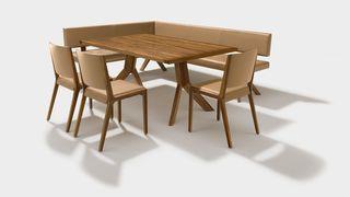 Sedia in legno naturale eviva con tavolo fisso e panca yps