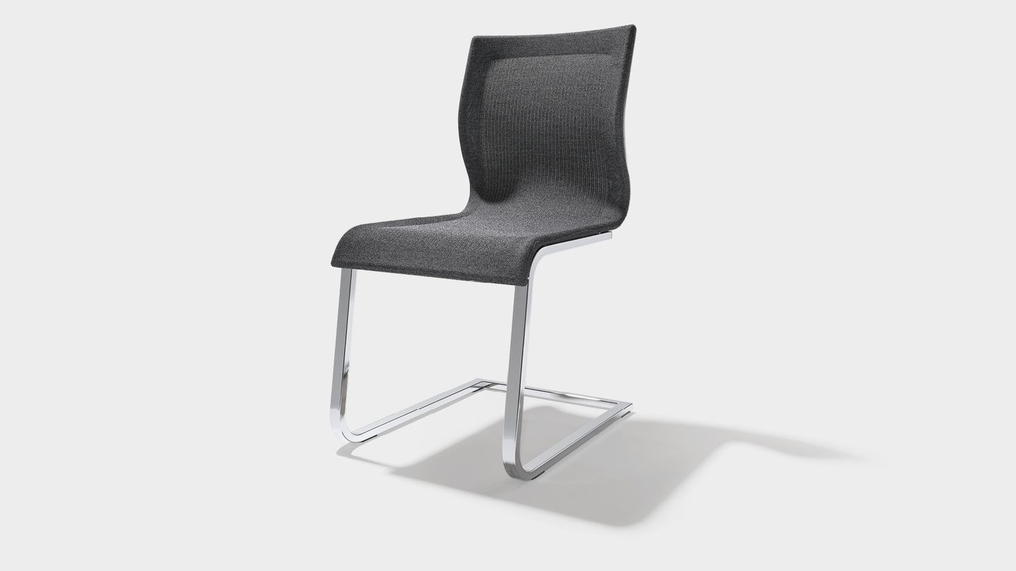 magnum cantilever chair Stricktex in flecked dark grey