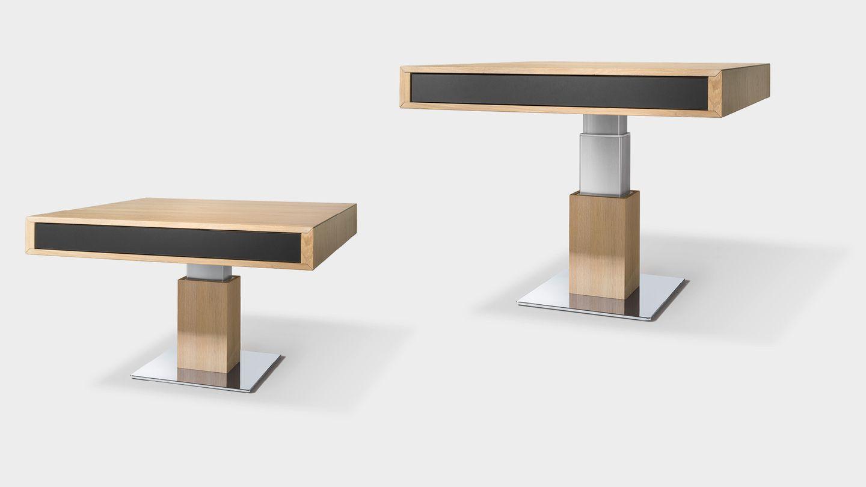 Tavolino lift regolabile in altezza in legno naturale