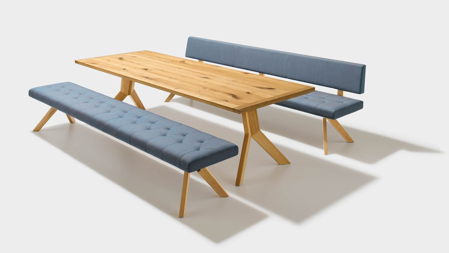 yps bench of solid wood in fabric with special upholstery