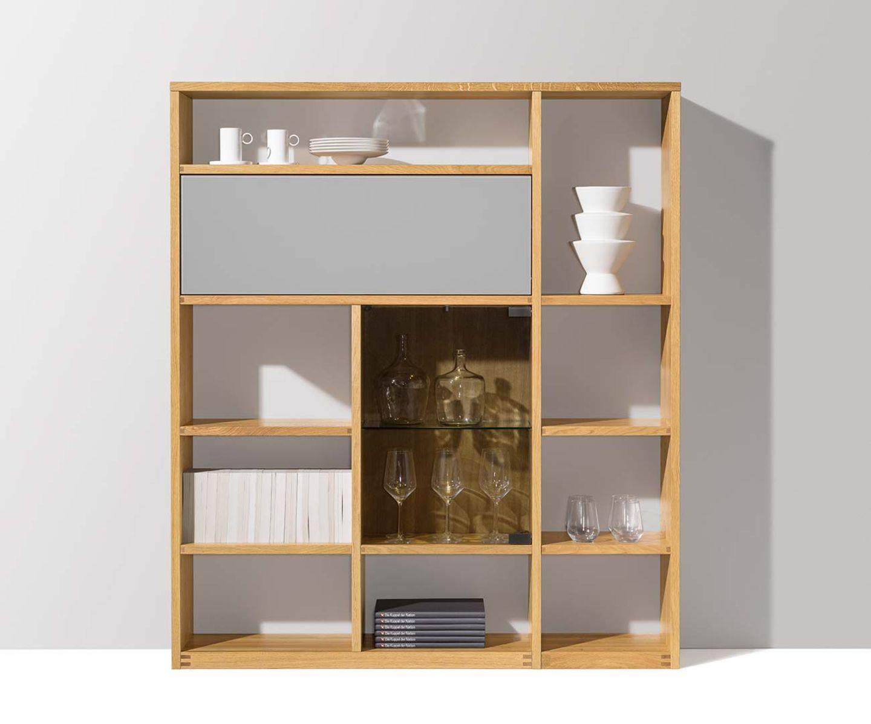 système d'étagères cubus avec langage de formes continu