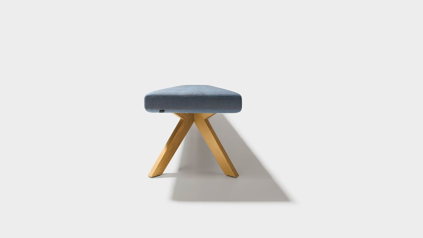 yps bench in fabric without backrest, from the side
