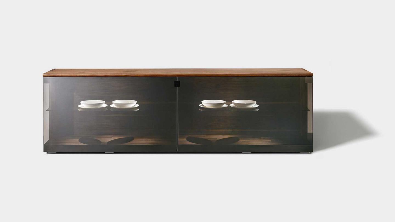 nox sideboard in walnut with palladium glass