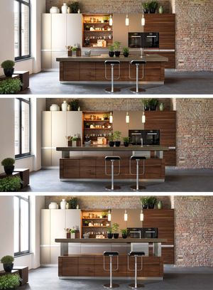 k7 kitchen island with height-adjustable worktop