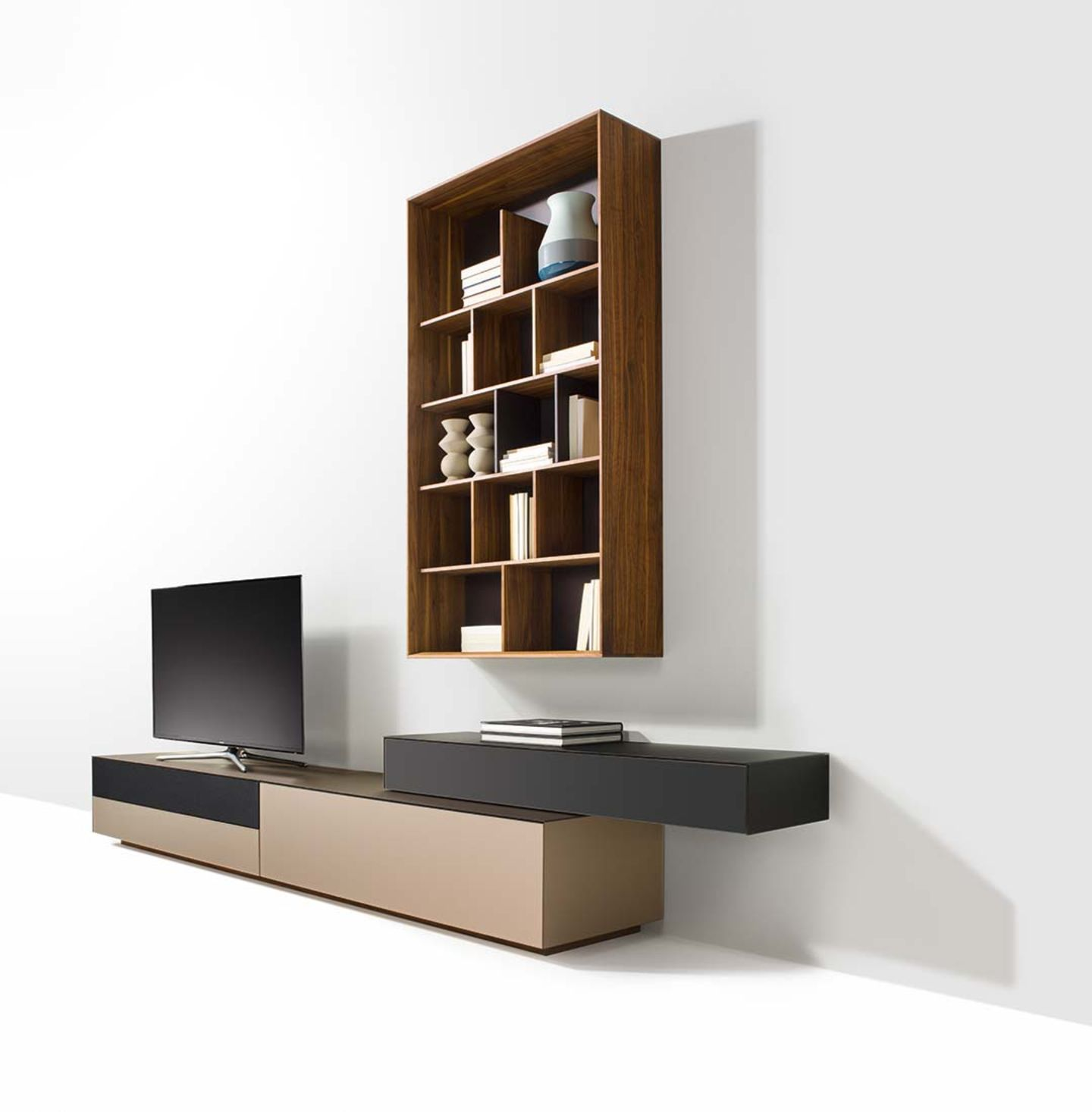 cubus pure wall unit with design elements in walnut
