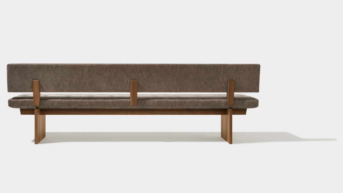 yps bench in fabric made of walnut solid wood by TEAM 7