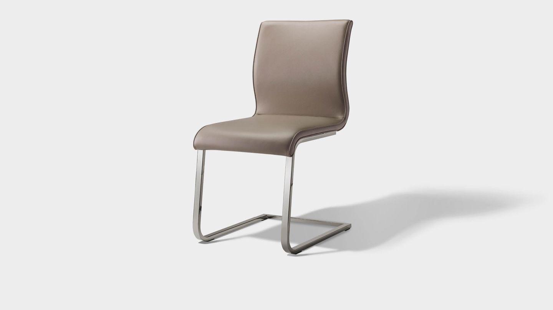 Chaise cantilever magnum avec piétement en acier inoxydable brillant
