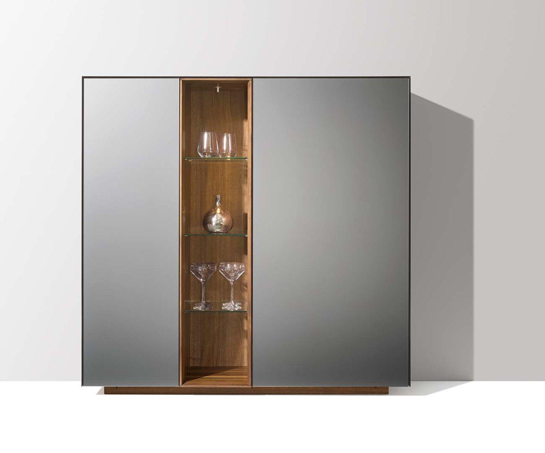 Высокий комод cubus pure с элементами из стекла цвета стали