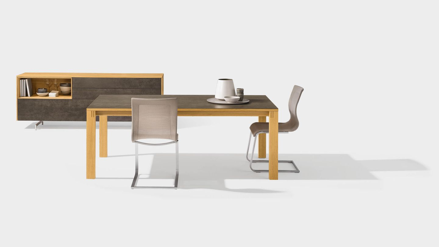 magnum extendable table made of wood with ceramic surface and cubus pure occasional furniture