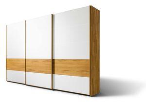 """Дубовый шкаф """"valore"""" с раздвижными дверьми и элементами из белого стекла"""