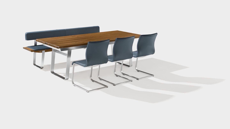 Tisch nox mit Bank aus Naturholz