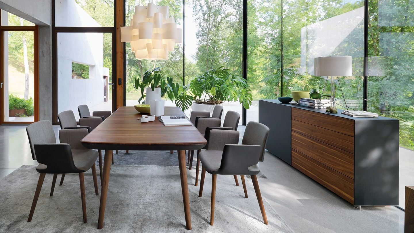 flaye dining room group with aye chairs in walnut
