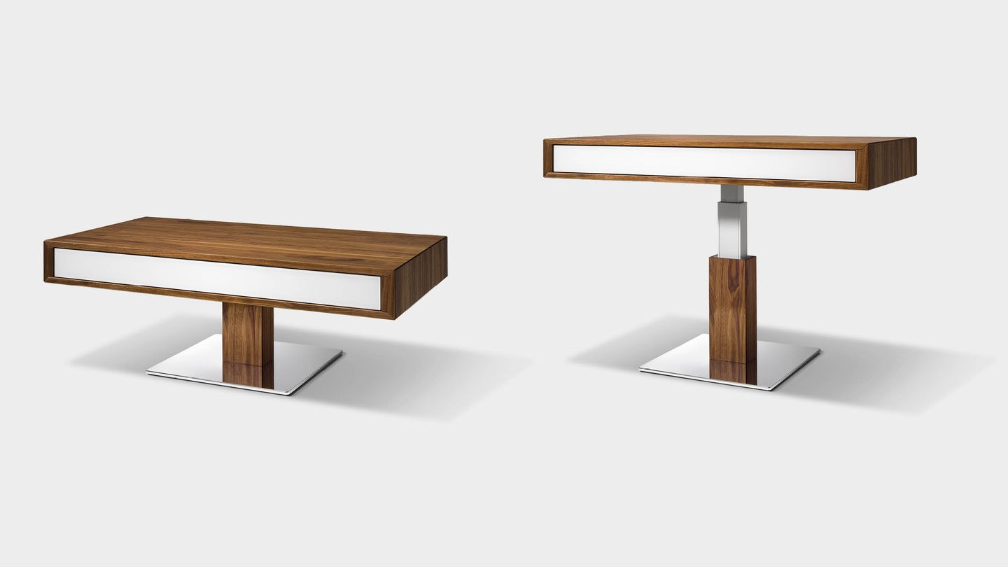 lift height-adjustable coffee table made of solid wood in walnut