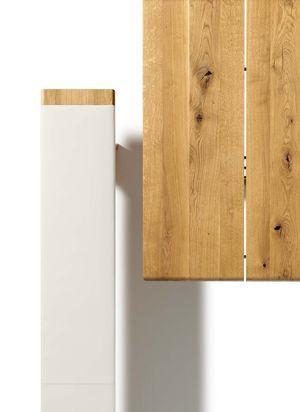 Panca nox con gambe in legno naturale vista da sopra