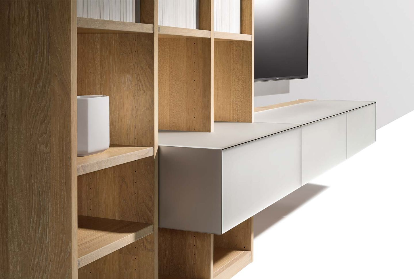 detail of cubus pure wall unit with different depths and glass