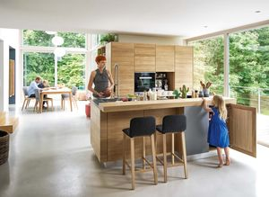 linee solid wood kitchen in oak with ark bar stool