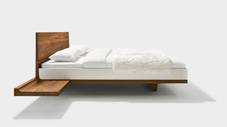 Lit riletto avec consoles en bois naturel