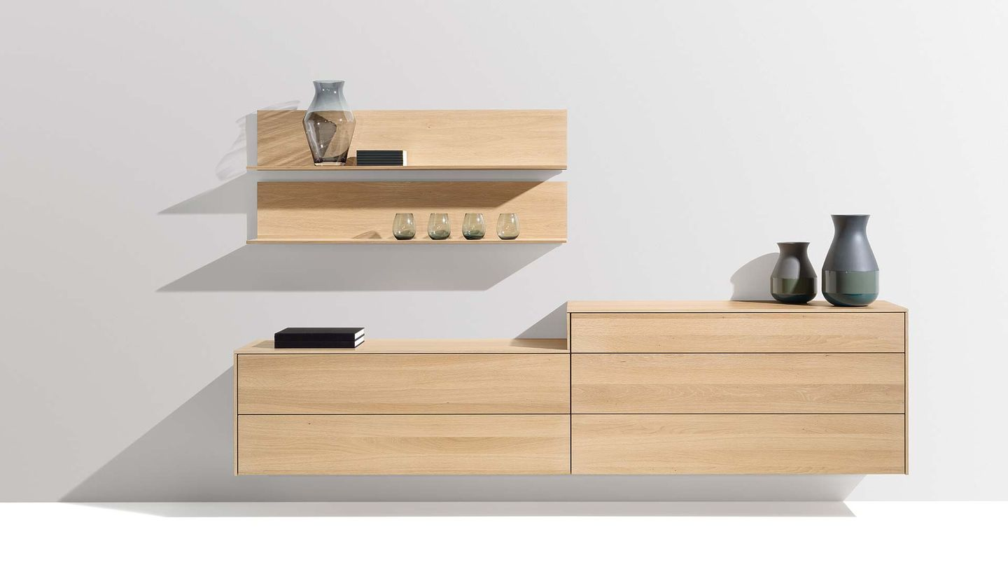 filigno sideboard with wall shelves in oak white oil