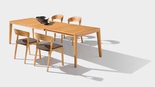 mylon chair matching the mylon table in beech heartwood