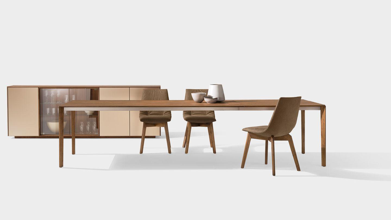 Table de salle à manger extensible tak avec piétement en bois en noyer
