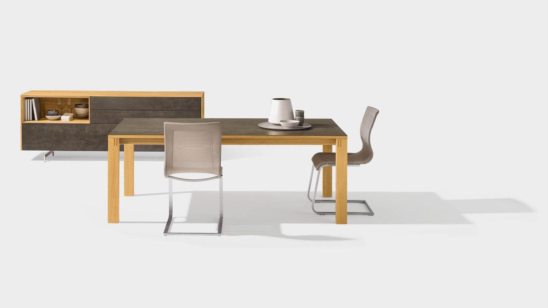 Table extensible magnum en bois avec surface en céramique et meuble d'appoint cubus pure