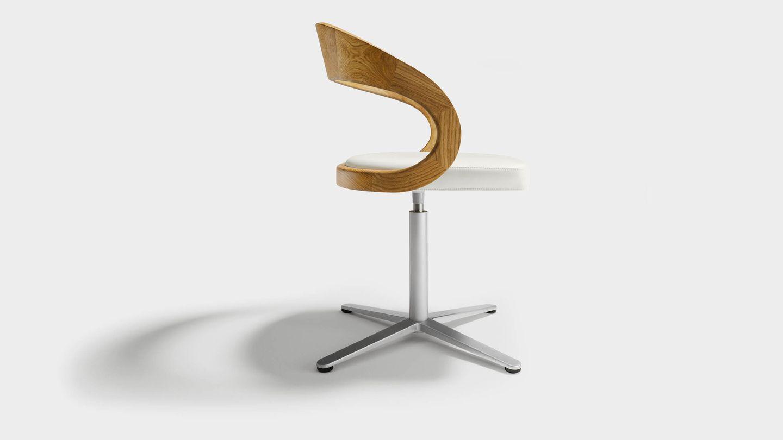 """Вращающееся кресло """"girado"""" на крестовине, с деревянной спинкой из дуба, вид сбоку"""