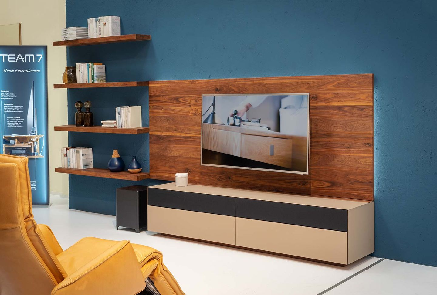 cubus pure wall unit in walnut at TEAM 7 Hamburg Altona