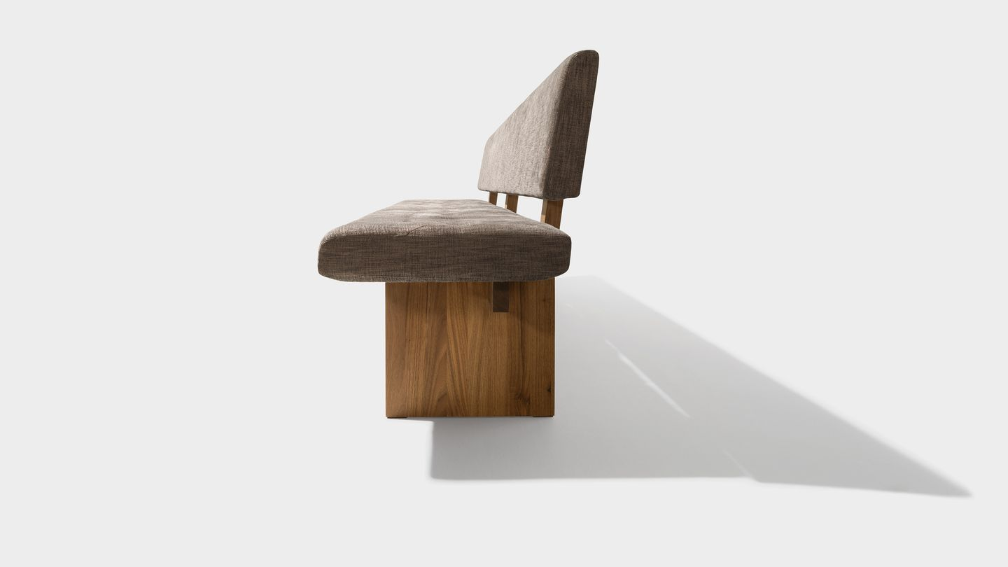 yps bench in fabric made of walnut solid wood from the side