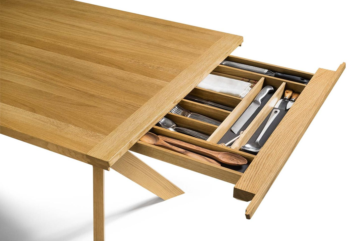 yps extendable table made of solid wood with cutlery drawer