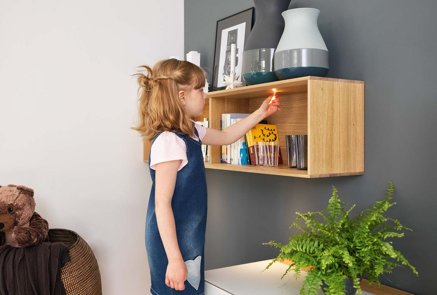 cubus pure wall unit in real wood with LED-Lighting