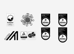 Verschiedene Zertifizierungen im Bereich Umwelt- und Qualitätsmanagement für TEAM 7