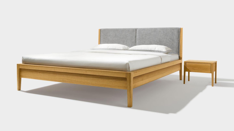 Bett mylon mit Nachtkästchen in Eiche aus Naturholz