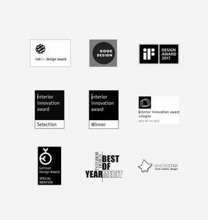 verschiedene Designpreise die TEAM 7 gewonnen hat