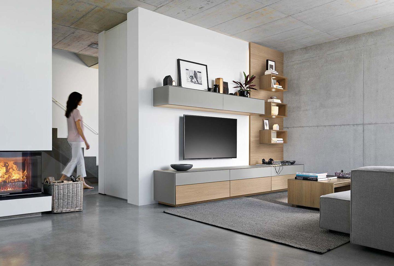 Parete attrezzata cubus pure in legno massello con versatili elementi di design