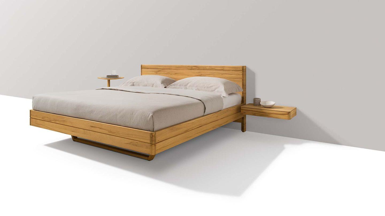 Lit float en bois naturel avec tête de lit