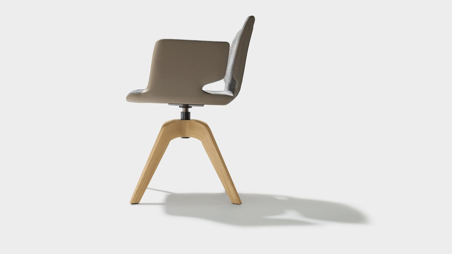 aye swivel chair in maple fabric with armrests side view