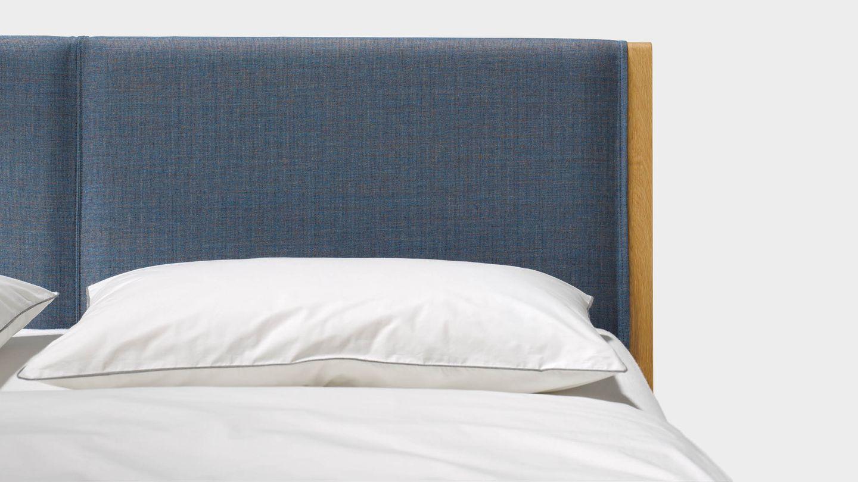 Lit mylon en bois naturel avec tête de lit en tissu