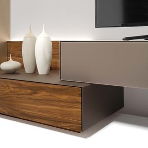 Design Wohnzimmer cubus pure mit Glasseitenteilen