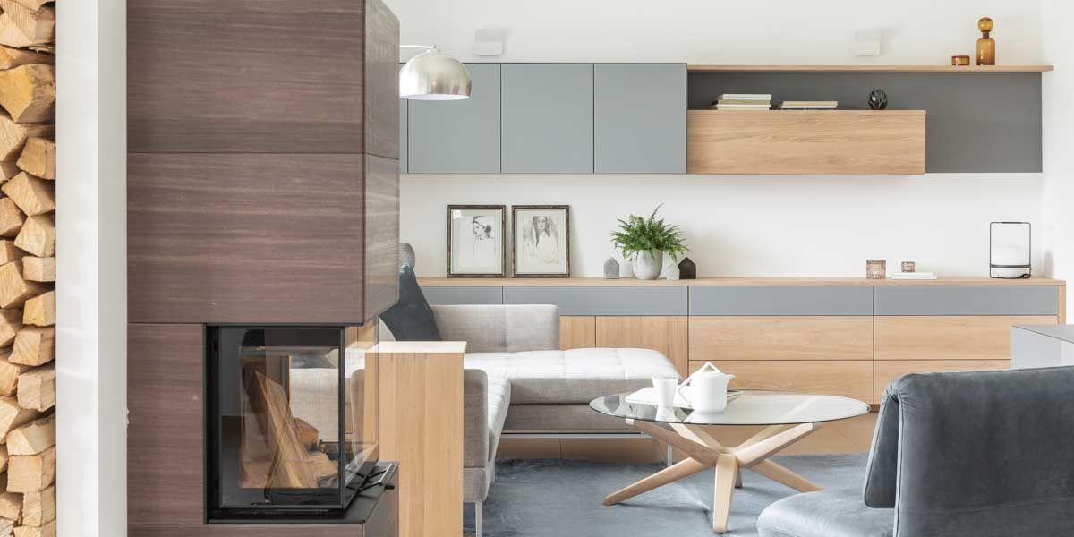 Wohnwand mit sidekick Beistelltisch und stern Couchtisch von TEAM 7 Frankfurt