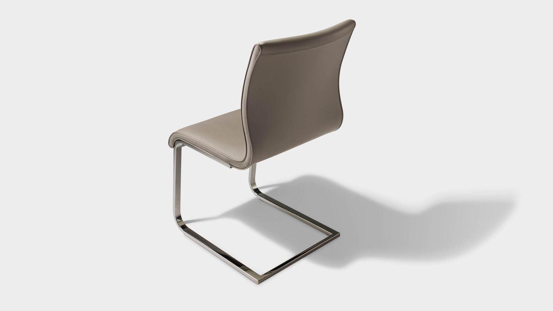 Chaise cantilever magnum en cuir gris