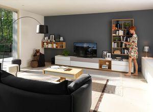 """Стенная мебель """"cubus pure"""" из массива дерева и с поверхностями из цветного стекла"""
